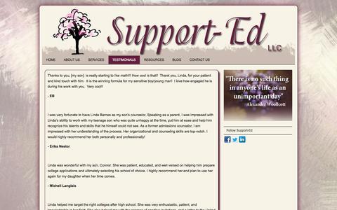 Screenshot of Testimonials Page supportedllc.com - TESTIMONIALS | Support Ed Llc - captured Oct. 1, 2014