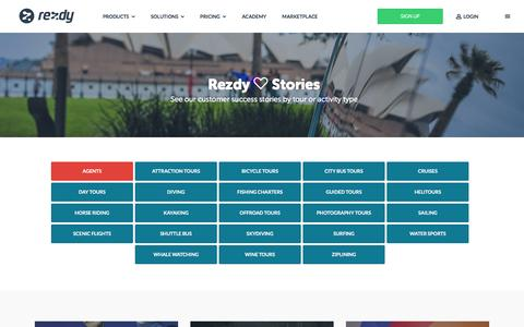 Screenshot of Case Studies Page rezdy.com - Online Booking Software Case Studies - Rezdy         :        Rezdy - captured April 6, 2016
