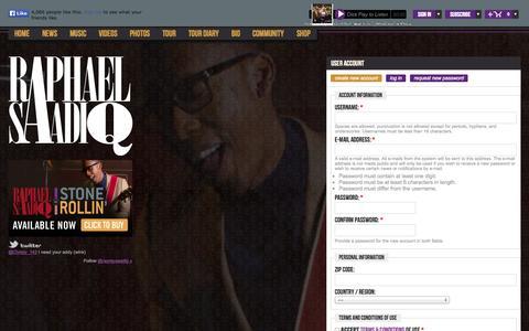 Screenshot of Signup Page raphaelsaadiq.com - User account   The Official Raphael Saadiq  Site - captured Nov. 5, 2014