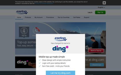 Screenshot of Home Page ezetop.com - Send Mobile Top Up Recharge Online & Make Cheap Calls with ezetop - captured Nov. 12, 2015