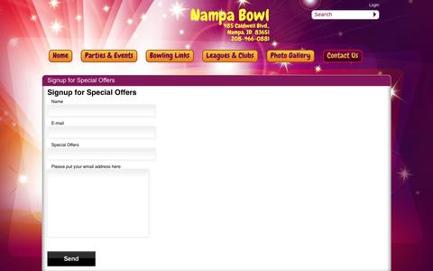 Screenshot of Signup Page nampabowl.com - Nampa Bowl > Contact Us > Signup Form Special Offers - captured June 13, 2016