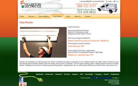 Screenshot of Case Studies Page fullertonelectric.net - Case Studies from Fullerton Electric Co.   Servicing Orange County, CA & Neighboring Communities - captured Oct. 6, 2014
