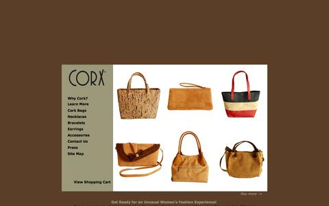 Screenshot of Home Page corx.com - Designer Ladies Handbags : Unique Cork Handbags : Luxury Vegan Handbags : Unusual Shoulder Bags : Womens Jewelry : Necklaces : Earrings - captured Sept. 12, 2015