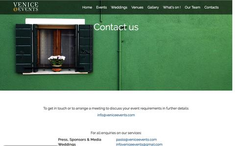 Screenshot of Contact Page veniceevents.com - Contact Us | Venice Events - captured Aug. 12, 2016