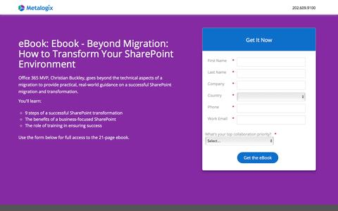 Screenshot of Landing Page metalogix.com - Ebook - Beyond Migration: How to Transform Your SharePoint Environment - captured Oct. 23, 2017