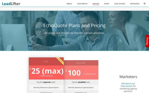 Screenshot of Pricing Page leadlifter.com - Pricing - B2B Lead Generation Made Easy - captured July 17, 2018
