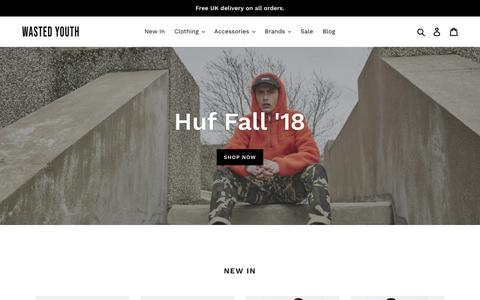 Screenshot of Home Page eightyeightstore.co.uk - wastedyouthonline.com – Wasted Youth - captured Sept. 27, 2018