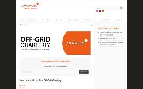 Screenshot of Press Page phocos.com - Phocos - Your Off-Grid Partner - captured July 13, 2016