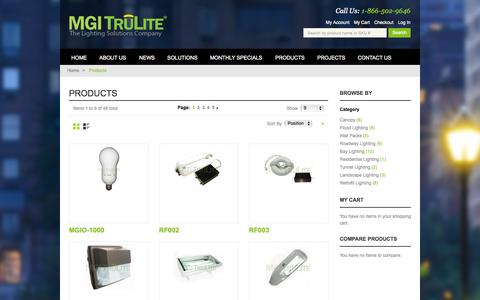 Screenshot of Products Page mgitrulite.com - Products | MGI Trulite - captured Oct. 7, 2014