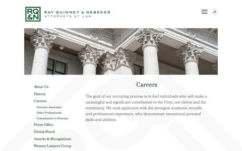 Screenshot of Jobs Page rqn.com - Utah Law Careers   Ray Quinney & Nebeker - captured Oct. 20, 2018