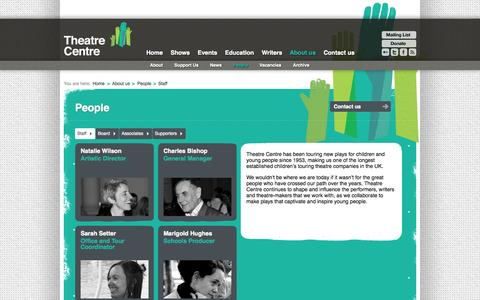 Screenshot of Team Page theatre-centre.co.uk - People | About us | Theatre Centre - captured Oct. 1, 2014