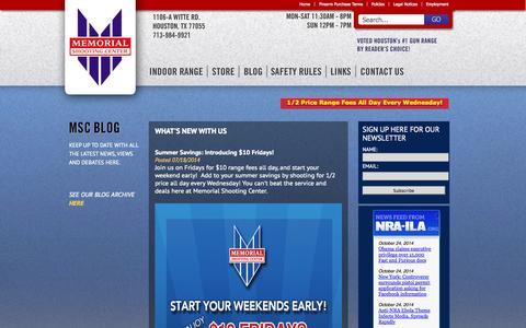 Screenshot of Blog memorialshootingcenter.com - Gun Range, Concealed Handgun License & Guns for Sale Houston TX - captured Oct. 27, 2014