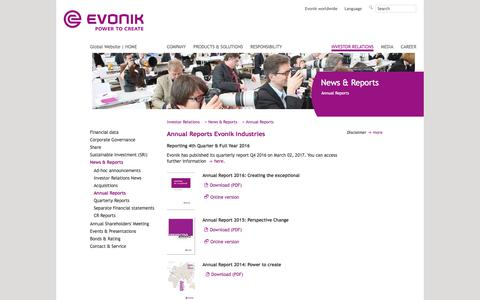 Annual Reports - Investor Relations - Evonik Industries - Specialty Chemicals