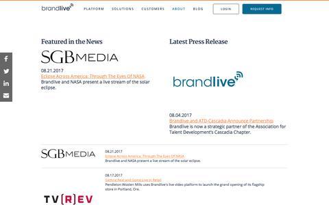 Screenshot of Press Page yourbrandlive.com - Brandlive   In the News - captured Sept. 7, 2017