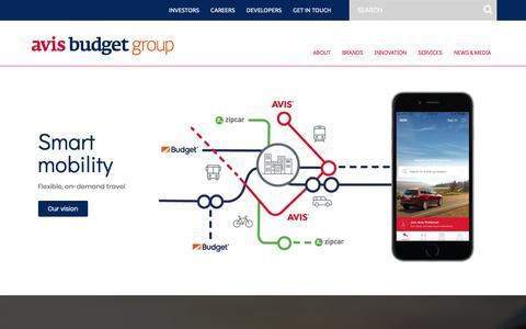 Screenshot of Home Page avisbudgetgroup.com - Avis Budget Group - captured Feb. 12, 2019