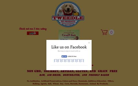 Screenshot of Home Page tweedlepetproducts.com - Healthy Gourmet Dog Treats | Delray Beach Florida - captured Oct. 19, 2018