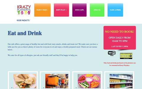 Screenshot of Menu Page krazyplaydays.co.uk - OUR CAFE | Krazy Playdays | Reading - captured June 22, 2019