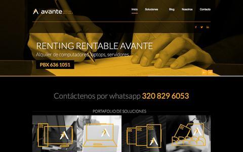 Screenshot of Home Page avante.cc - Avante - Alquiler de computadores - captured Oct. 4, 2014