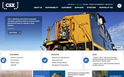 Screenshot of Home Page csx.com - Home - CSX.com - captured Aug. 17, 2018