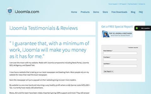 Screenshot of Testimonials Page ijoomla.com - iJoomla Testimonials & Reviews - captured Sept. 18, 2014