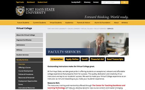 Screenshot of Services Page fhsu.edu - Faculty Services - Fort Hays State University - captured Oct. 27, 2014
