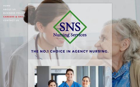 Screenshot of Jobs Page sns-nursing.com.au - Careers @ SNS — SNS Nursing Services - captured June 16, 2016