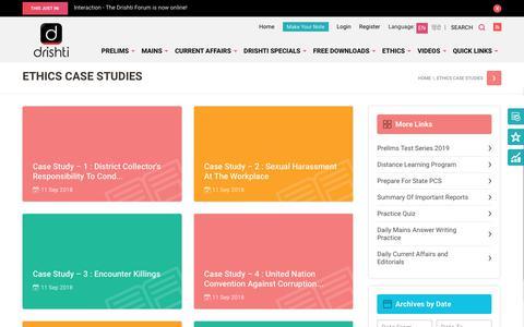 Screenshot of Case Studies Page drishtiias.com - Ethics Case Studies - Drishti IAS - captured Nov. 6, 2018