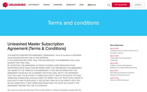 Screenshot of Terms Page unleashedsoftware.com - Term and Conditions - captured Sept. 17, 2014