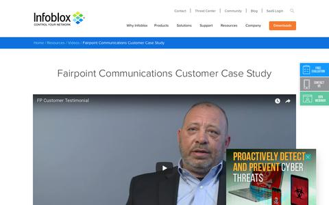 Screenshot of Case Studies Page infoblox.com - Fairpoint Communications Customer Case Study - Infoblox - captured Sept. 25, 2017