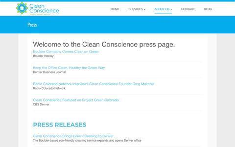 Screenshot of Press Page cleanconscience.com - News and Press | Clean Conscience - captured Nov. 4, 2018