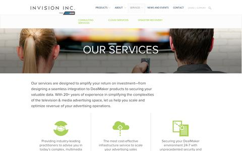 Screenshot of Services Page invisioninc.com - Our Services  –   | Cross-Device Advertising Sales Software - captured Sept. 15, 2016