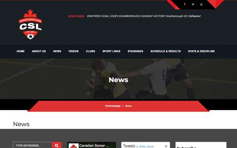 Screenshot of Press Page canadiansoccerleague.ca - News – Canadian Soccer League - captured July 4, 2018