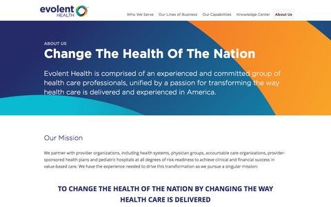 Screenshot of About Page evolenthealth.com - About Us   Evolent Health - captured May 21, 2017