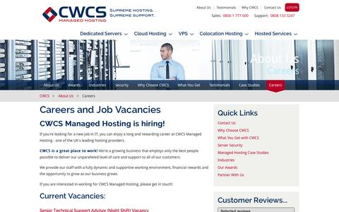 Screenshot of Jobs Page cwcs.co.uk - Careers and Job Vacancies at CWCS Managed Hosting - captured Sept. 19, 2014