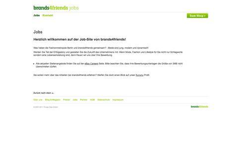Screenshot of Jobs Page brands4friends.de - Jobs - captured Sept. 13, 2014