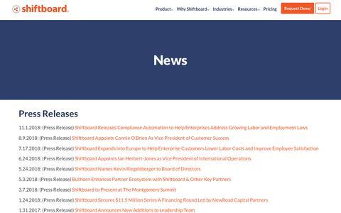 Screenshot of Press Page shiftboard.com - Latest Company News, Press Releases & Updates | Shiftboard - captured Feb. 6, 2019