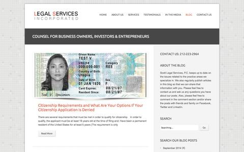 Screenshot of Blog legalservicesincorporated.com - Legal Services - Business Owners, Investors & Entrepreneurs | Scott Legal Services, P.C. - captured Sept. 19, 2014