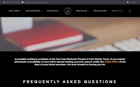 Screenshot of FAQ Page fourdayweekend.com - FAQ - Four Day Weekend | Comedy - captured Aug. 20, 2018
