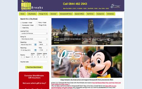 Screenshot of Home Page short-breaks.com - Short Breaks Ltd Eurostar Short Break Deals to Europe from just £99pp - captured Aug. 31, 2015