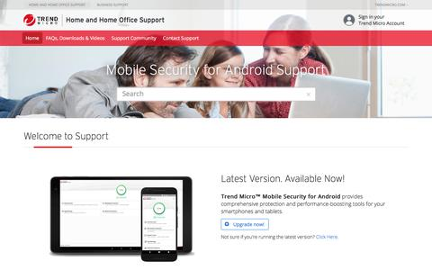 Mobile Security for Android Support - Welcome to Support -  Home and Home Office Support | Trend Micro