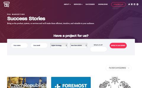 Screenshot of Case Studies Page pbjmarketing.com - Success Stories   PBJ Marketing — Your Strategic Digital Marketing Agency. - captured May 1, 2019