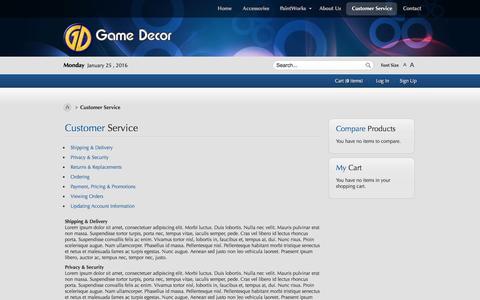 Screenshot of Support Page gamedecor.com - Customer Service - captured Jan. 25, 2016