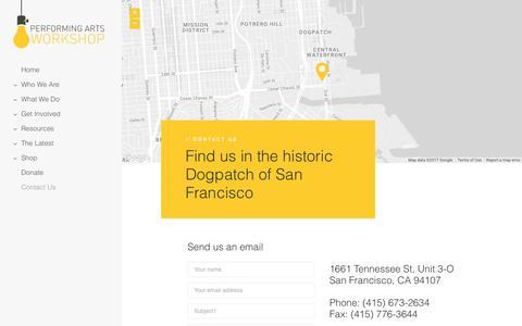 Screenshot of Contact Page performingartsworkshop.org captured May 16, 2017