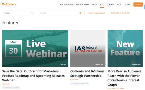 Screenshot of Blog outbrain.com - Digital Marketing & Content Discovery | Blog | Outbrain - captured May 22, 2018