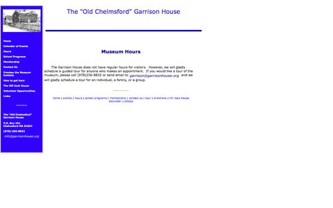 "Screenshot of Hours Page garrisonhouse.org - The ""Old Chelmsford"" Garrison House Hours of Operation - captured June 23, 2016"