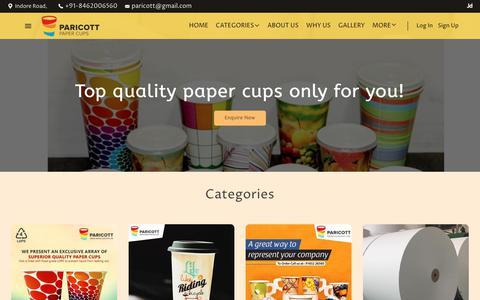 Screenshot of Home Page paricott.com - Paricott India Papercup Pvt Ltd - Top Diaposal Products and Items in Indore Road,, Khandwa, Madhya Pradesh, India - captured Nov. 9, 2018