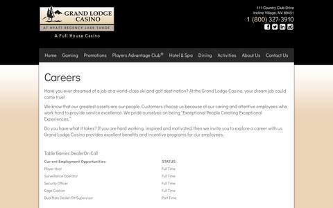 Screenshot of Jobs Page grandlodgecasino.com - Grand Lodge Casino at Hyatt Regency Lake Tahoe - Careers - captured July 23, 2018