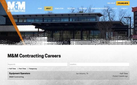 Screenshot of Jobs Page m-mcontracting.com - Careers   M&M Contracting, LTD - captured Sept. 26, 2017