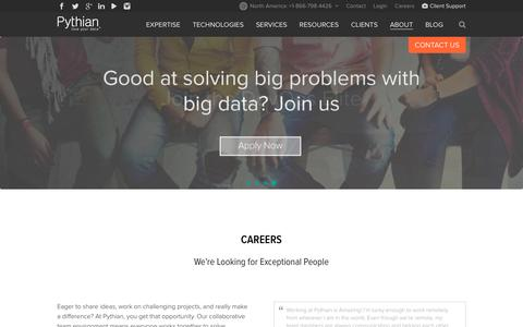 Screenshot of Jobs Page pythian.com - Data Industry Careers | We're Hiring Worldwide | Pythian® - captured Nov. 24, 2015