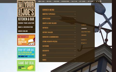 Screenshot of Menu Page notyouraveragejoes.com - American Cuisine Menu - Not Your Average Joe's | Not Your Average Joes - captured Oct. 26, 2014